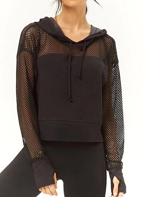 Hooded  Drawstring  Plain  Long Sleeve Hoodies