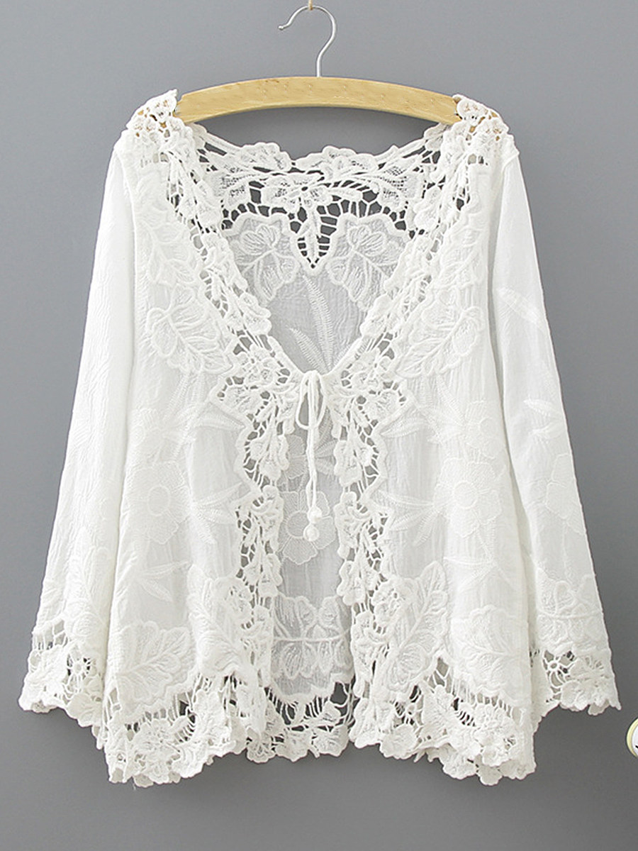 BerryLook V Neck  Hollow Out  Elegant  Lace  Three-Quarter Sleeve Cardigans