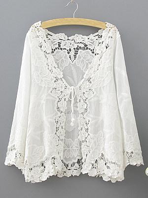 V Neck  Hollow Out  Elegant  Lace  Three-Quarter Sleeve Cardigans