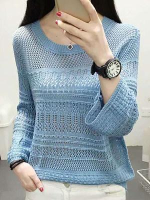 Round Neck Patchwork Elegant Plain Long Sleeve Knit Pullover, 8178208