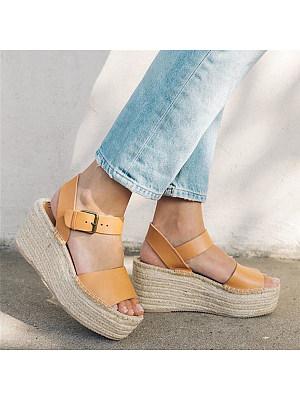 Plain Peep Toe Casual Date Wedge Sandals, 8181316