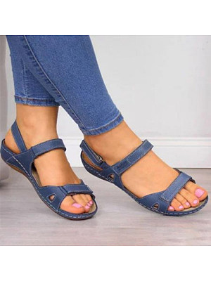 Plain Peep Toe Casual Travel Flat Sandals, 7184245