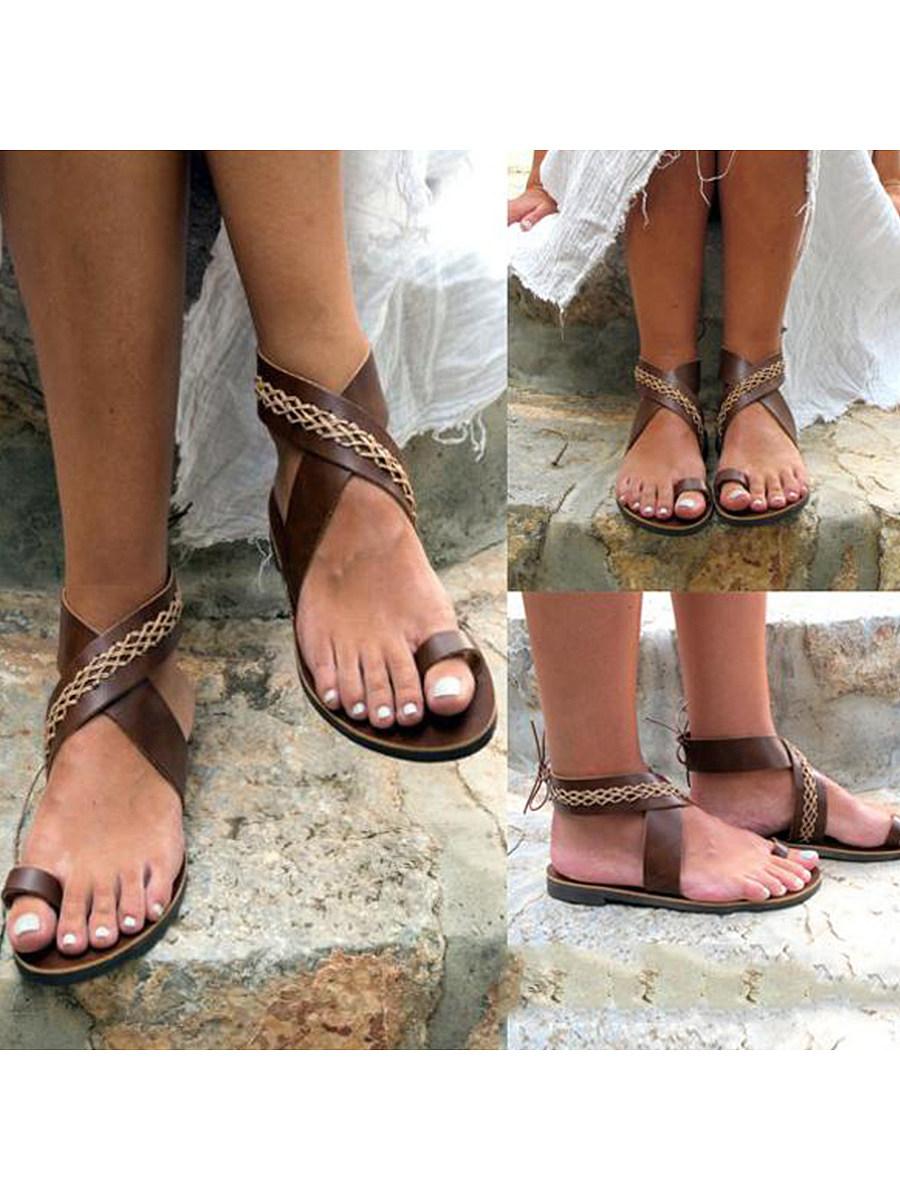 Bohemian  Flat  Ankle Strap  Peep Toe  Beach Casual Gladiator Sandals