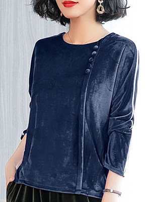 Round Neck Decorative Buttons Loose Fitting Stripes Long Sleeve T-Shirts