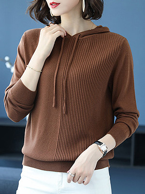Hat Collar Patchwork Casual Plain Long Sleeve Knit Pullover, 9496402