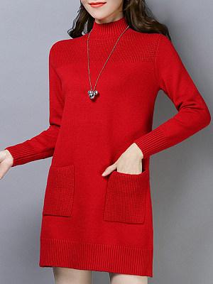 High Neck Patch Pocket Plain Shift Dress, 9110835