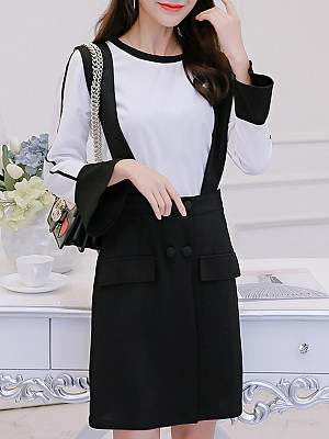 Round Neck Decorative Buttons Color Block Bell Sleeve Shift Dress