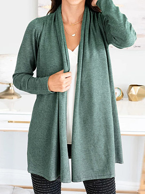 Patchwork  Brief  Plain  Long Sleeve  Cardigan