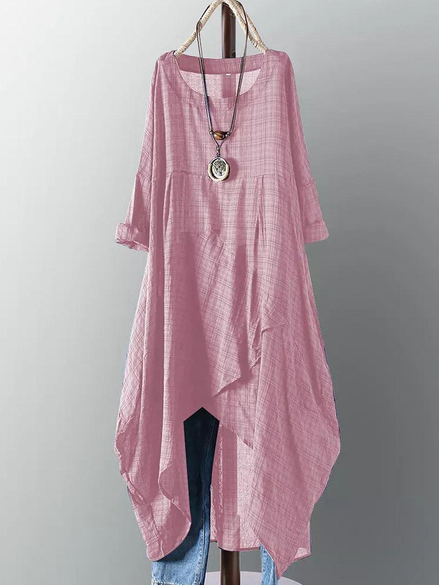 BerryLook Round Neck  Asymmetric Hem  Plaid Maxi Dress