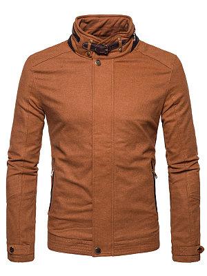 High Neck Pocket Plain Fleece Lined Men Jacket