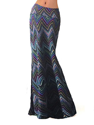 Cutout Scalloped Hem Contrast Piping High Stretch Asymmetric Stripe Tulip Midi Skirts, 4106474