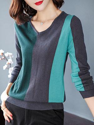 V Neck  Patchwork  Elegant  Color Block  Long Sleeve  Knit Pullover