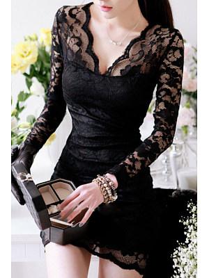 Deep V Neck  Decorative Lace Patchwork  Plain Bodycon Dresses