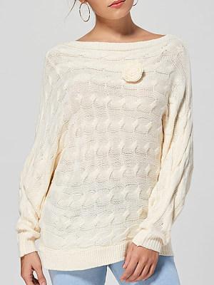 Shoulder Collar Patchwork Elegant Plain Long Sleeve Knit Pullover, 8475699