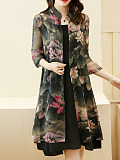 Band Collar Lotus Printed Chiffon Two-Piece Shift Dress - $26.95