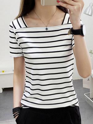 Square Neck  Stripes Short Sleeve T-Shirts