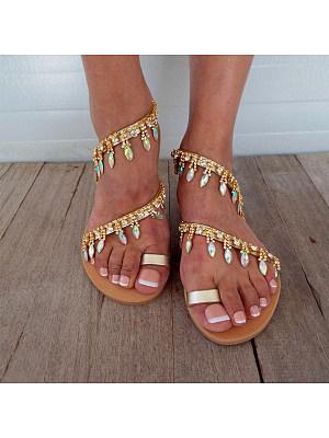 Bohemian Flat Peep Toe Casual Travel Vacation Wedding Flat Sandals, 7027030, BERRYLOOK  - buy with discount