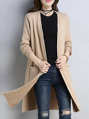 Patchwork Elegant Plain Long Sleeve Knit Cardigan, 8611029