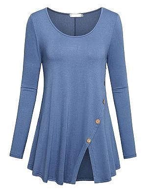 Autumn Spring Cotton Women Round Neck Slit Decorative Button Plain Long Sleeve T-Shirts