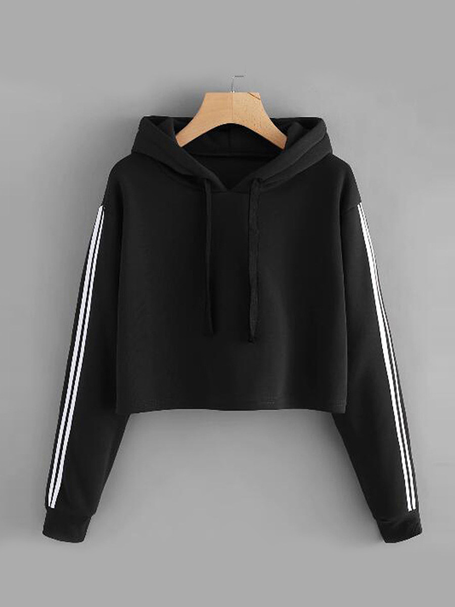 Casual  Contrast Piping  Colouring Plain  Long Sleeve Hoodie