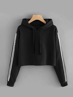 Casual Contrast Piping Colouring Plain Long Sleeve Hoodie, 8768155