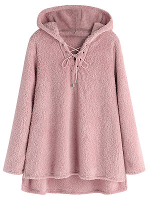 Hooded Drawstring Plain Long Sleeve Sweaters Pullover
