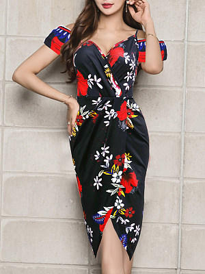 V Neck Asymmetric Hem Floral Printed Bodycon Dress, 7160244
