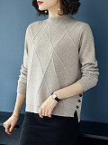 Short High Collar  Brief  Plain  Long Sleeve Knit Pullover