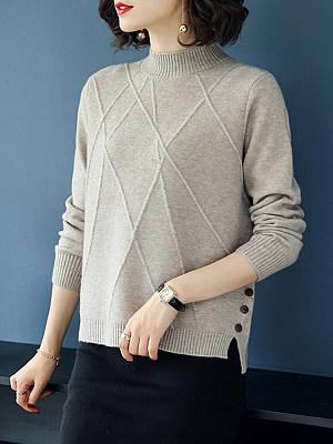 Short High Collar Brief Plain Long Sleeve Knit Pullover, 8141600