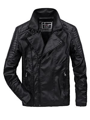 Lapel Fleece Lined Zips Pocket Plain Men PU Leather Jacket фото