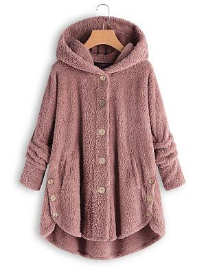 Hooded Decorative Buttons Plain Coat, 5943307