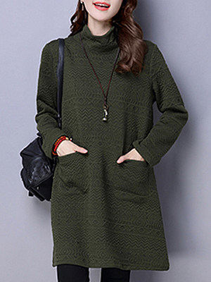 Купить High Neck Slit Pocket Plaid Shift Dress