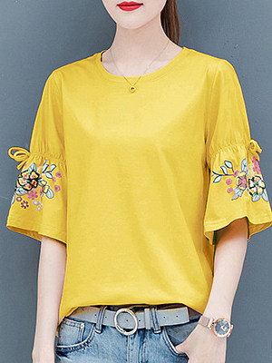 Round Neck  Patchwork  Floral Printed  Bell Sleeve Short Sleeve T-Shirts
