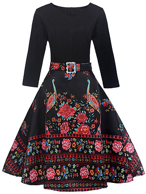 Round Neck  Patchwork  Belt  Printed  Polyester Skater Dress