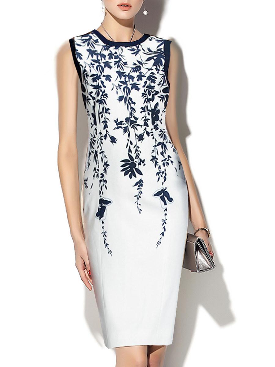 Round Neck  Print Bodycon Dress Trophy Wife Fashions