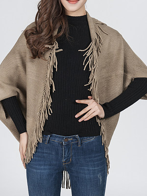 Fringe  Plain Knit Cardigans