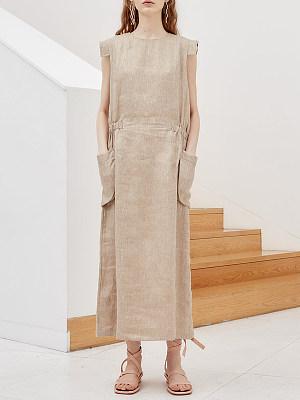 Round Neck Slit Pocket Plain Maxi Dress