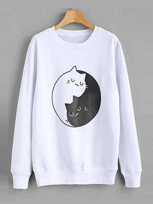 Casual Printed Long Sleeve Sweatshirt фото