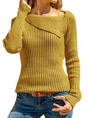 Lapel Patchwork Casual Plain Long Sleeve Knit Pullover фото