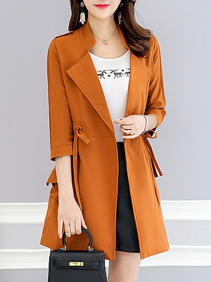 Lapel Drawstring Plain Trench Coat, 6436538