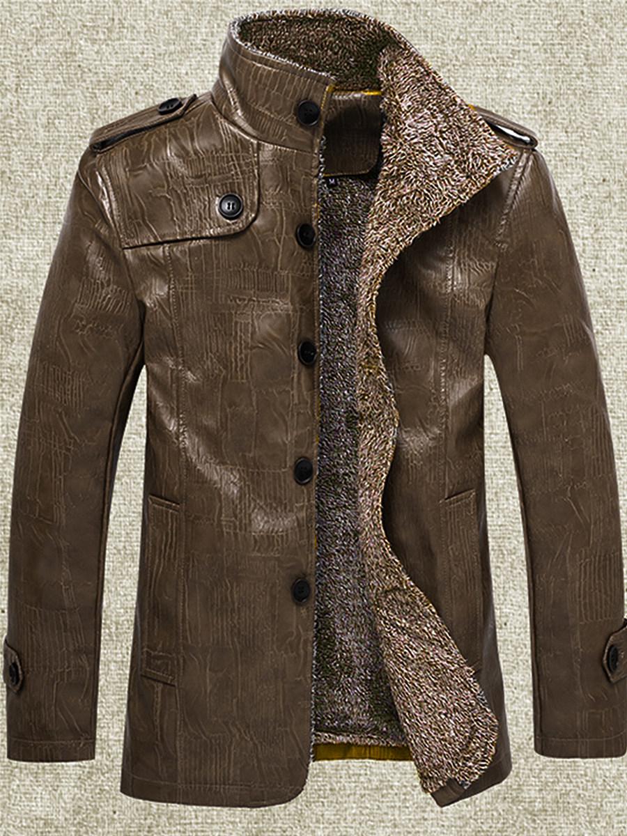 Band Collar  Decorative Button  Plain Men Jacket