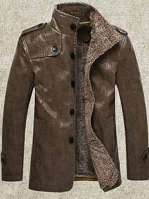 Band Collar Decorative Button Plain Men Jacket, 3915233