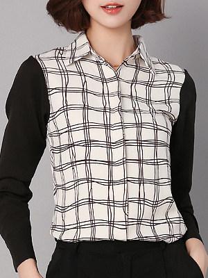 Lapel Patchwork Elegant Plaid Long Sleeve Blouse, 9894628