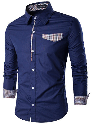 Contrast Plaid Trim Long Sleeve Men Shirts