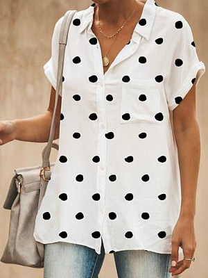 Turn Down Collar Loose Fitting Patch Pocket Dot Blouses, 7014412