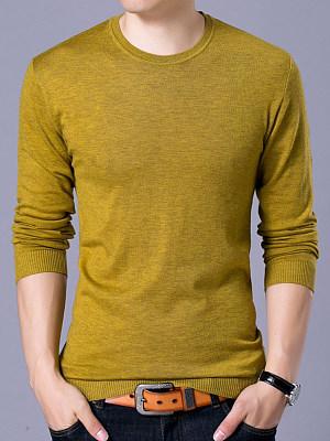 Men Basic Crew Neck Plain Sweater фото