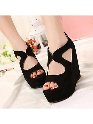 Plain High Heeled Velvet Ankle Strap Peep Toe Casual Date Wedge Sandals, 4710572