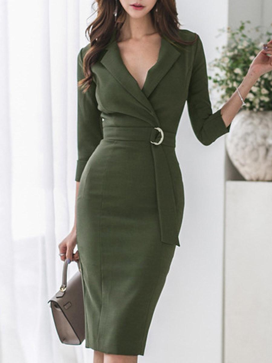 Tight Fitting Classy Dresses V Neck  Plaid Bodycon Dress Trophy Wife Fashions