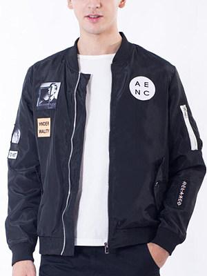 Men Flap Pocket Decorative Patch Bomber Jacket