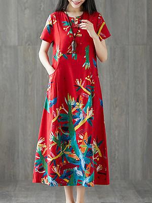 Round Neck Patch Pocket Print Maxi Dress, 4939360